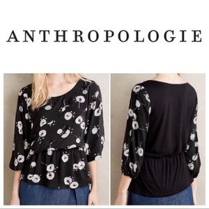 ANTHROPOLOGIE DELETTA WISHED BLOOMS PEPLUM BLOUSE